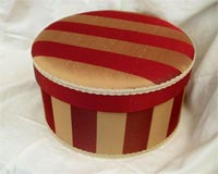 Downton Abbey Hat Box - Red and Gold Striped Faux Silk fabric - Click here for more details