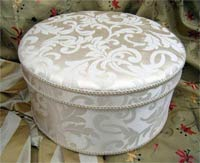 Downton Abbey Hat Box - Cream Jacquard fabric - click here for more details
