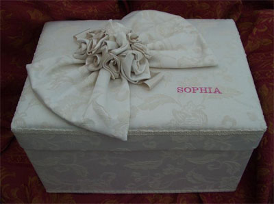 Rectangular damask box personalised with initials or name of your choice