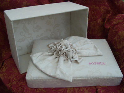 Personalised damask box  - detail of lid and interior