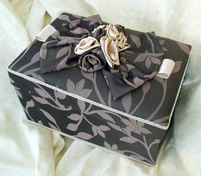 Rectangular Box covered in chocolate brown damask fabric