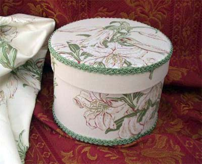 "Round Box covered in Laura Ashley ""Tiger Lily"" fabric"