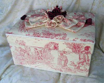 Rectangular Box covered in Red Toile fabric