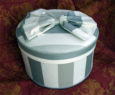 Silver and White striped hat box