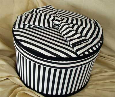 Black and White narrow striped hat box