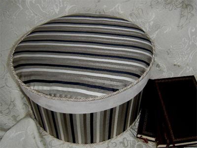 Narrow stripe taupe/cream/brown silky-type fabric Hat Box