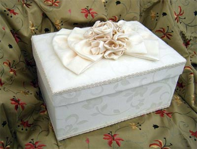 Cream Jacquard Rectangular Box