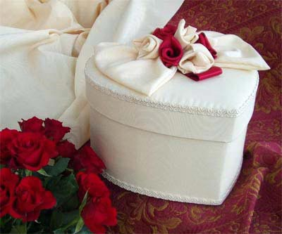 Heart Shaped Box - White or Cream Moire with Red flowers
